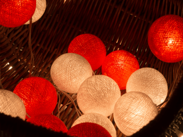 Lichterkette: Christmas Cotton Ball Lights